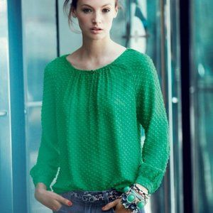 Dublin Green J. Crew Swiss Dot Chiffon Blouse